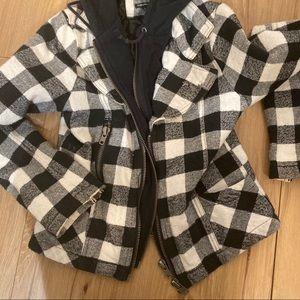 Plaid black and white double zip Buffalo jacket